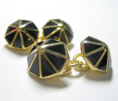 Sterling Silver Pyramid Cufflink with Black Agate