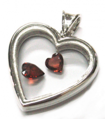 Sterling Silver Pendant with semi precious stone heart