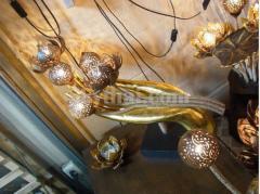 Coconut Lamp with hand teak Decoration