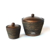 Pot, Mango Wood, With Lid, Decorated With Rope, L