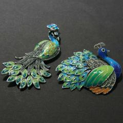 Peacock-Shaped Brooches