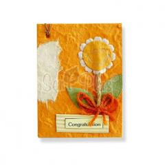 Card Toppers - Natural Earth Tone Funny Sunflower on Terracotta Color Card Topper