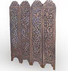 Teak Carved Screen with Birds