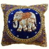 Pillow Cover Thai Elephant Embroidered On Silk