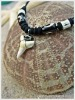 Black and Bone Beads White Shark Tooth Necklaces Natural Hardmade Jewelry