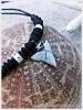Pure Black and Bone Beads White Shark Tooth