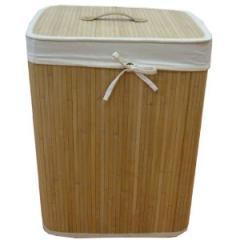 Large folding  lined bamboo basket.