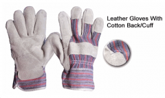 Leather Gloves With Cotton Back/Cuff