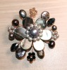 Pink Mother of Pearl and Freshwater Pearl Brooch