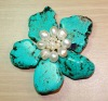 Turquoise and Freshwater Pearl Brooch