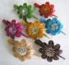 Leather Flower Hair Clip
