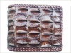 Genuine Chocolate Backbone Crocodile Skin Leather Biker Wallets Mens Bifold