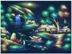 Night River Tempera Painting