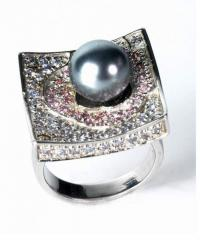 Square shape and Pearl ring
