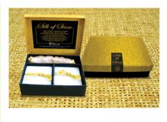 Thai silk soap set in gold.