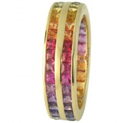 6ct Double Row Rainbow Sapphire Eternity Ring 18K