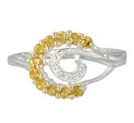 Citrine & Diamond Swirl Ring 925 Silver