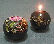 Mango Wood Spherical Candle Holder