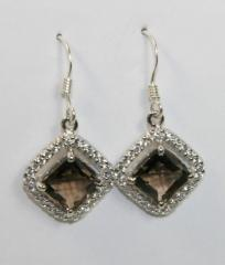 Smokey Brown Cubic Zirconia Sterling Silver Square