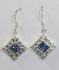 Sapphire Cubic Zirconia Sterling Silver Quad