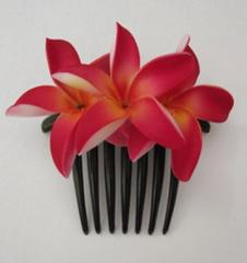 Red flower Hair Comb