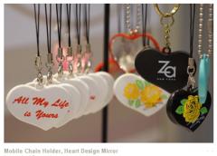Mobile Chain Holder, Heart Design Mirror