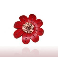 Red leather flower brooch