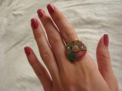Brass ring with Jequirity Seeds