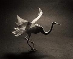 Paper Flying Crane Silver Foil