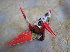Flying Crane Red Foil