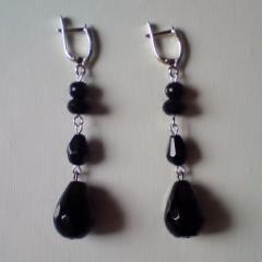 Silver Earrings With Black Lip