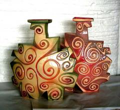 Ceramic vase with colorful for decorative indoor