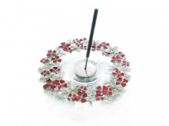 Incense Holder Flower on Glass Dish