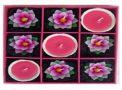 Set of 6 Mini lotus candles and3 candles in