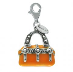 925 Sterling Silver Charm with Enamel Orange color