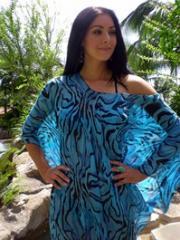 Turquoise & Black Zebra Poncho