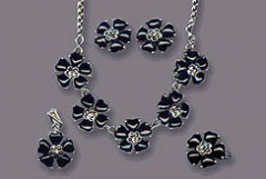 Black Flower Sterling silver jewelry necklace