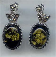 Silver with stone earrings