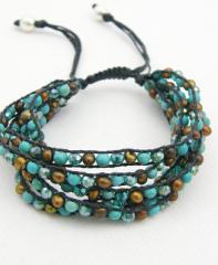 5 strand row bracelet turquoise mix pearl