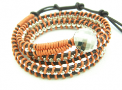 Wrap Bracelet silver ball with orange cotton cord