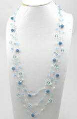 3 Strands Knit Necklace with Blue Quartz