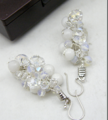 White Earring with Jade and Crystal