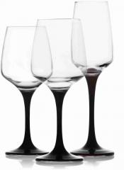 A set of wine glasses decorated with black leg in