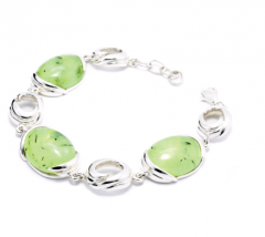 925 Sterling Silver Bracelet set with Prehnite