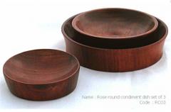 Rose round condiment dish set of 3