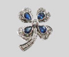 White Gold Brooch with Sapphire & Diamond