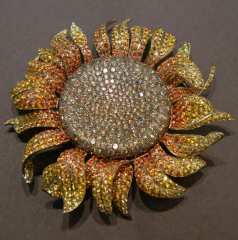 Titanium Sunflower Brooch