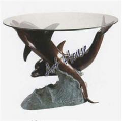 2 Dolphins Bronze Sculpture Table