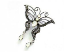 Butterfly Marcasite Brooch with Stone