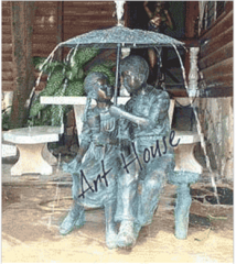 Bronze Boy & Girl With Umbrella